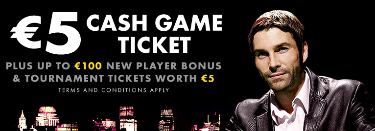 The Bet365 Poker Bonus offers you with a welcome bonus of up to €100 Bonus + €5 Cash Game Ticket.