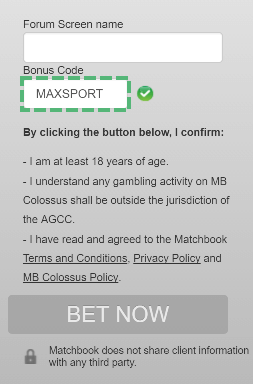 Matchbook bonus code registration