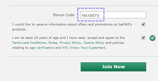 bet365 bonus code MAXBETS