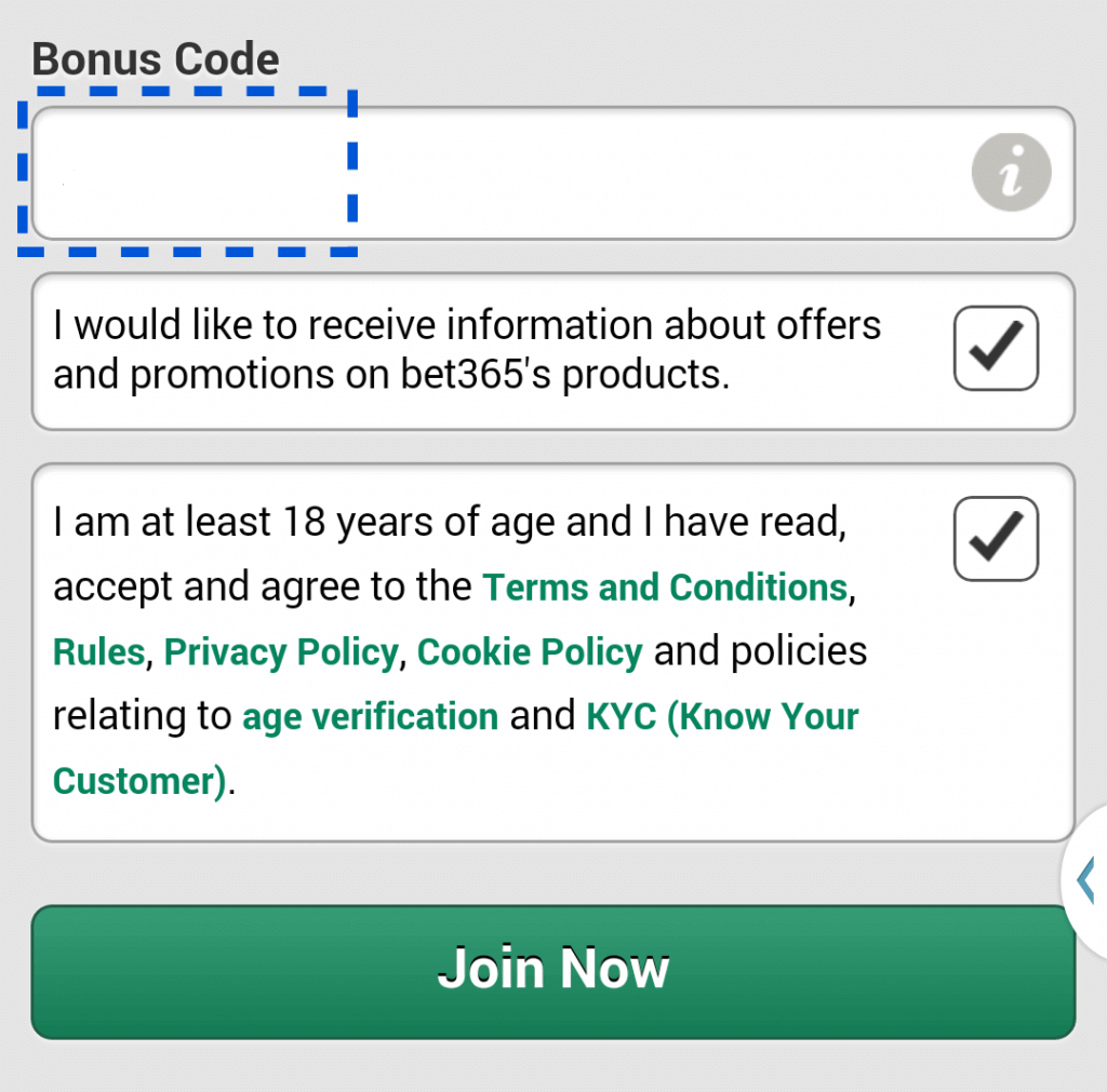 bet365 casino offer code existing customers