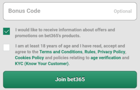 bet365 bonus code mobile sign up form