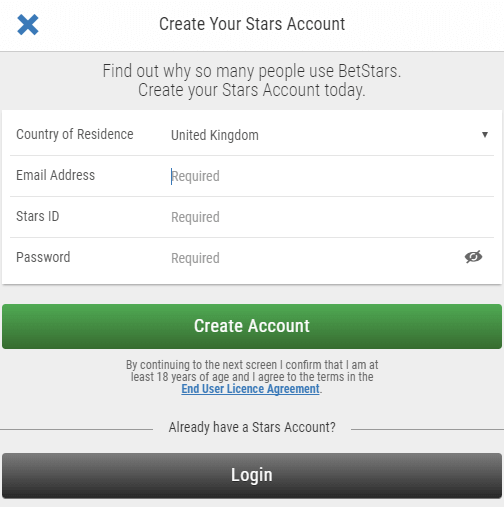 betstars bonus code