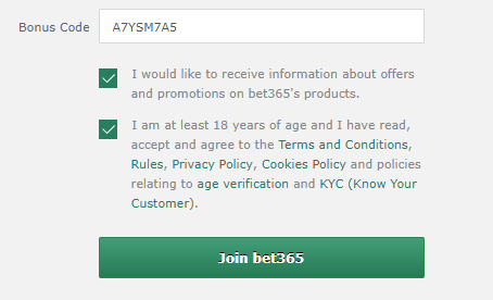bet365 bonus code sign up