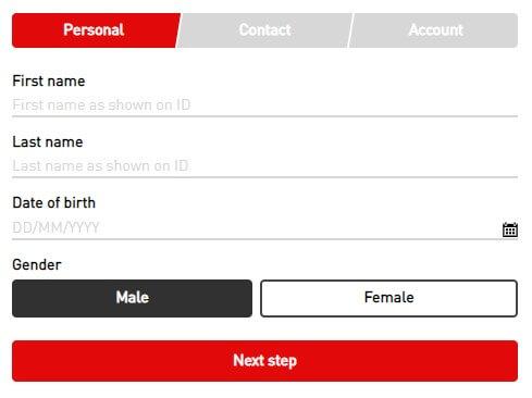 Virgin bet sing up registration form