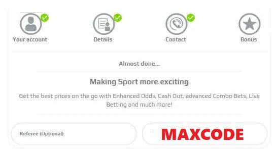 Enter the netbet bonus code MAXCODE in the registration field